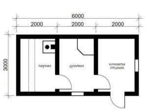 «Баня из бруса 6 на 3: проекты, варианты планировки и фото» фото - proekt 6x3 2 300x229