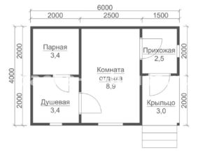 «Проект бани из бруса 6х4: особенности составления, постройки и планировки, фото» фото - proekt 6x4 3 300x225