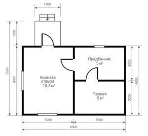 «Проект бани из бруса 6х4: особенности составления, постройки и планировки, фото» фото - proekt 6x4 5 300x276