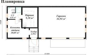 «Проект гаража с баней: особенности строительства и выбор материала» фото - proekt banya garaj 3 300x192