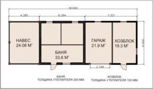 «Проект гаража с баней: особенности строительства и выбор материала» фото - proekt banya garaj 5 300x174
