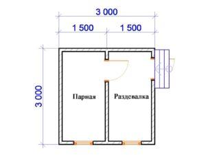 «Проект бани 3 на 3: особенности составления. Постройка бани 3x3» фото - proekt 3 3 5 300x225
