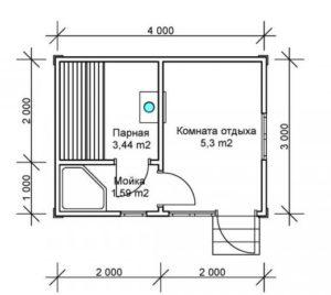 «Проекты каркасных бань: преимущества и выбор чертежа» фото - proekt karkasnyh ban 10 300x268