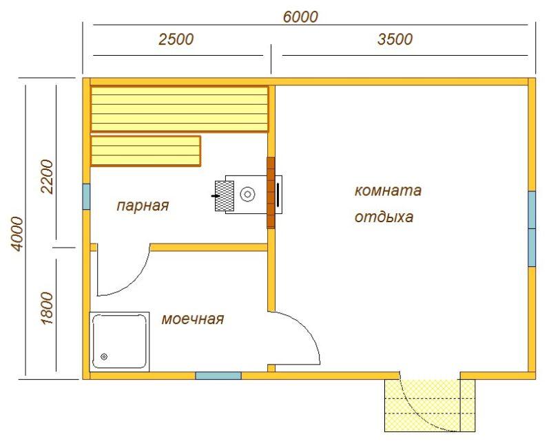 «Проект бани 6х4: особенности составления, примеры и фото» фото - proekt 6x4 10 800x644