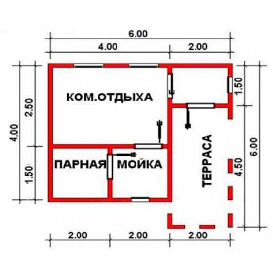 «Проект бани 6х4: особенности составления, примеры и фото» фото - proekt 6x4 13
