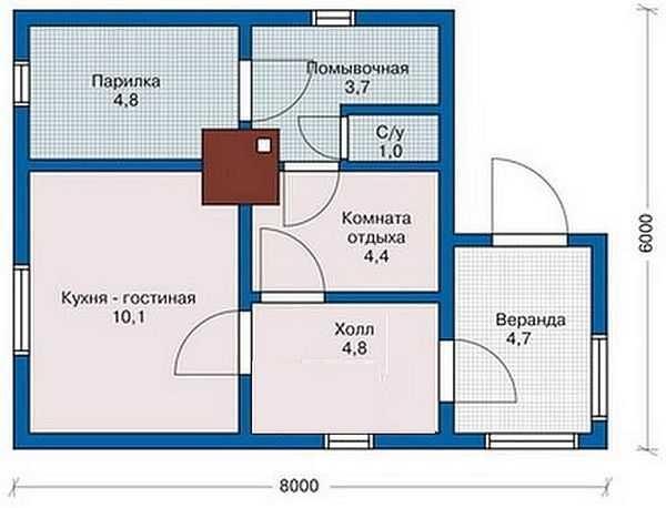 «Проект бани 6 на 8: особенности, виды. Особенности строительства бани 6х8 из бруса» фото - proekt 6x8 8