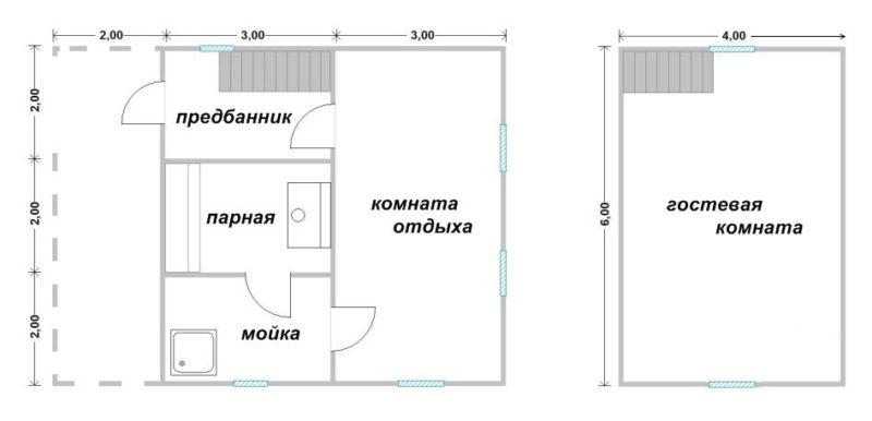 «Проект бани 6 на 8: особенности, виды. Особенности строительства бани 6х8 из бруса» фото - proekt 6x8 9 800x386
