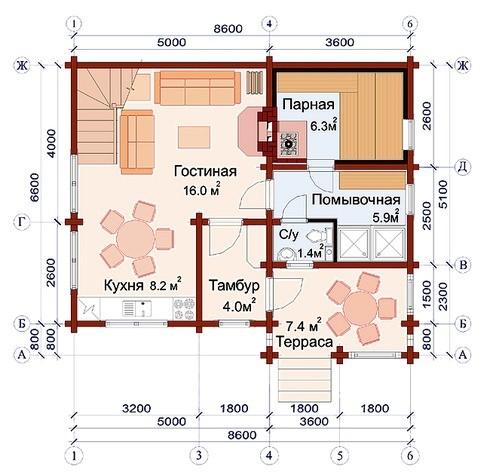 «Проект бани 8х8 м: преимущества, виды. Нюансы строительства бани 8 на 8 м» фото - proekt 8x8 5