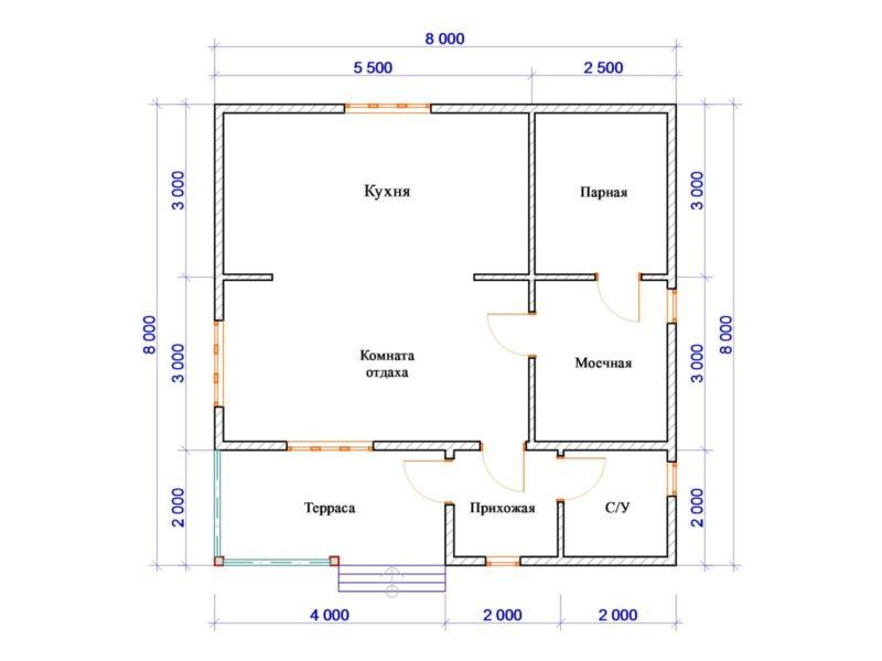 «Проект бани 8х8 м: преимущества, виды. Нюансы строительства бани 8 на 8 м» фото - proekt 8x8 6 800x600