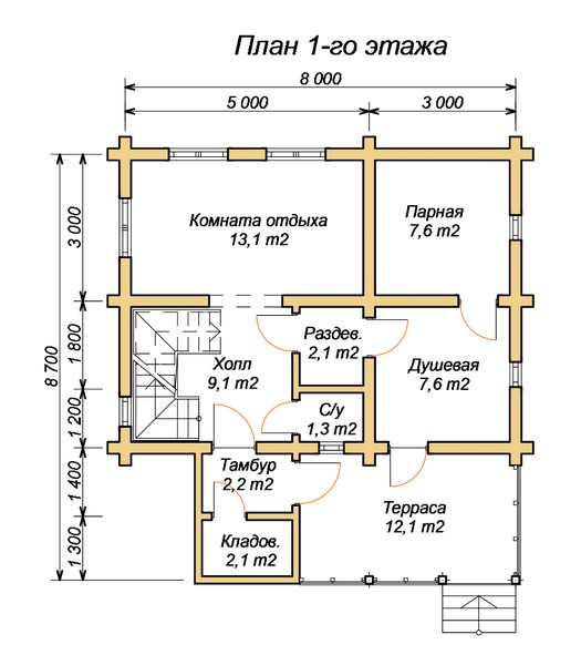 «Проект бани 8х8 м: преимущества, виды. Нюансы строительства бани 8 на 8 м» фото - proekt 8x8 7