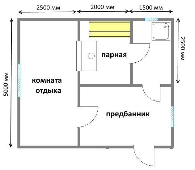 «Проекты бани с комнатой отдыха: особенности составления, виды» фото - proekt komnata otdyha 3