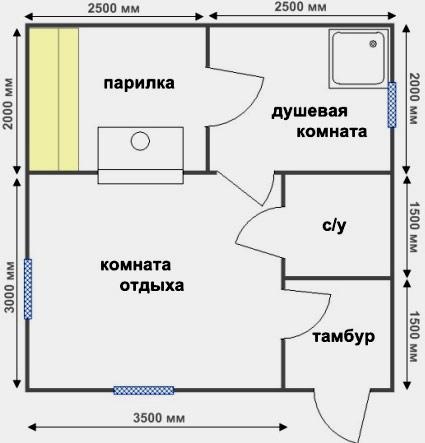 «Проекты бани с комнатой отдыха: особенности составления, виды» фото - proekt komnata otdyha 4