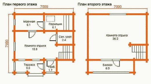 «Проекты бани с комнатой отдыха: особенности составления, виды» фото - proekt komnata otdyha 9