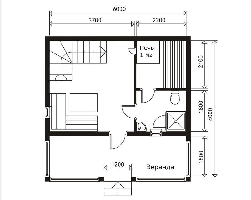 «Баня 6 на 6 из бруса с мансардой: проекты, особенности постройки и фото» фото - proekt mansarda 6x6 10 800x640