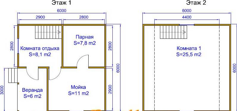 «Баня 6 на 6 из бруса с мансардой: проекты, особенности постройки и фото» фото - proekt mansarda 6x6 11