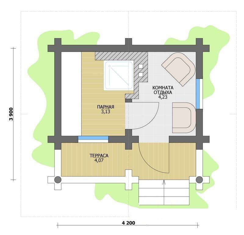 «Проекты бань с террасой: фото, примеры, особенности» фото - proekt terrasa 9 800x771