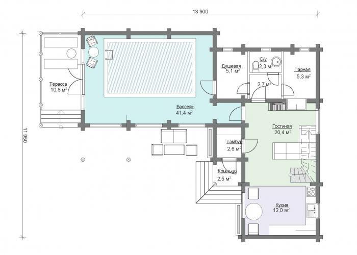 «Проекты угловых бань: преимущества, виды и варианты планировки» фото - uglovaja banya 10