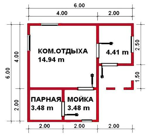 «Проекты угловых бань: преимущества, виды и варианты планировки» фото - uglovaja banya 7