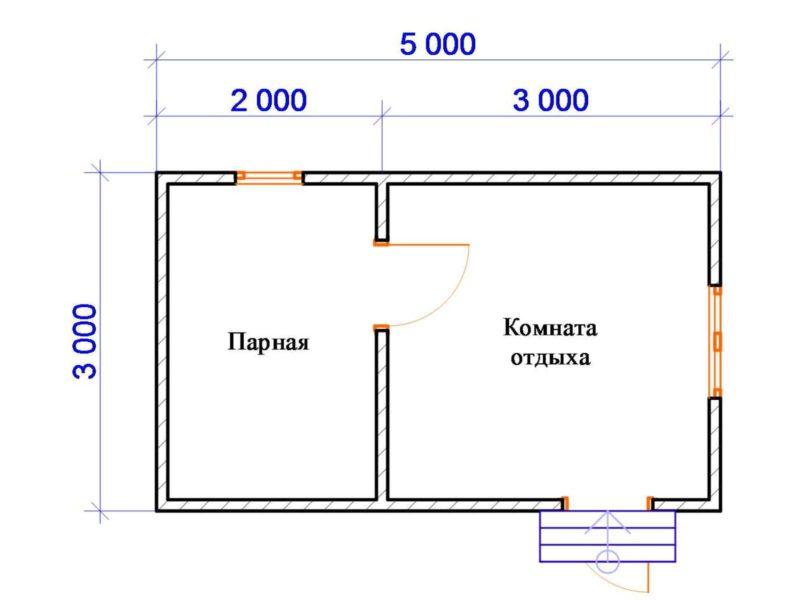 «Проект бани 3 на 5 м: фото, примеры. Как составить проект бани 3х5?» фото - proekt 3 5 6 800x600