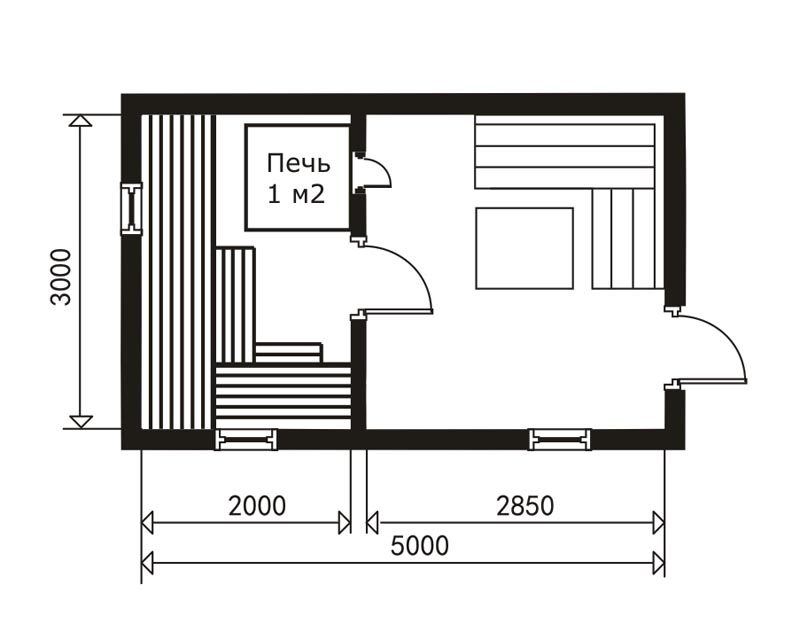 «Проект бани 3 на 5 м: фото, примеры. Как составить проект бани 3х5?» фото - proekt 3 5 8 800x640