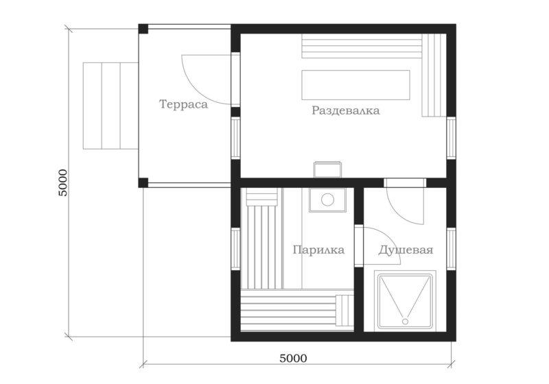 «Проект бани 5 на 5: фото, особенности составления и примеры» фото - proekt 5 5 2 800x560