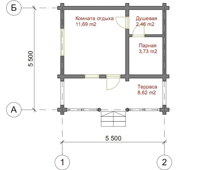 «Проект бани 5 на 5: фото, особенности составления и примеры» фото - proekt 5 5 3 800x692