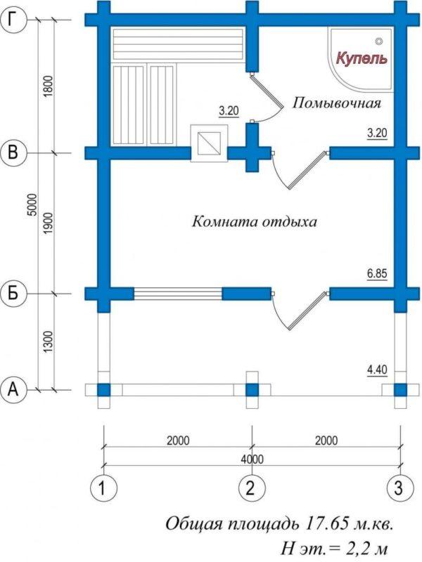 «Проект бани 4 на 5: преимущества, особенности составления и примеры» фото - proekt bani 4 5 5 600x800