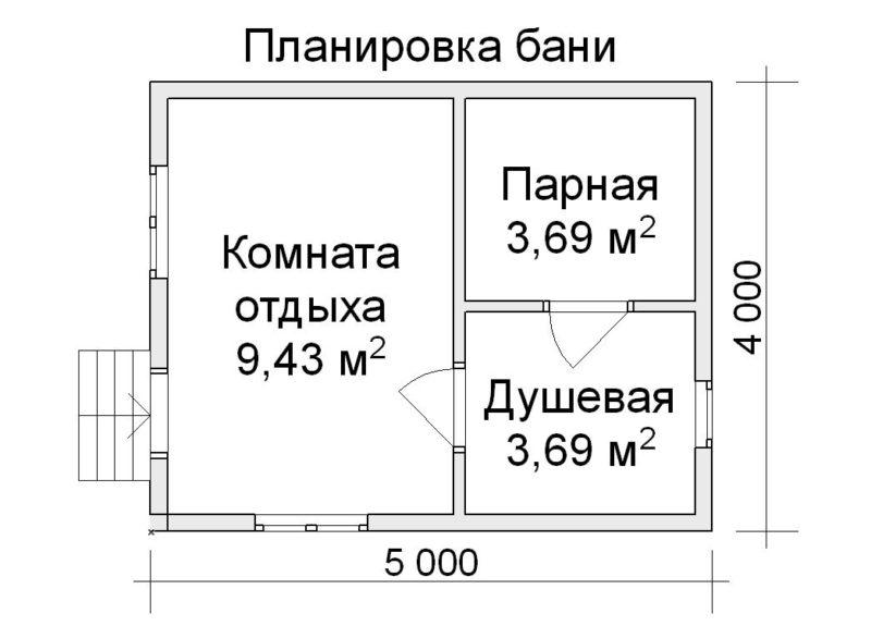 «Проект бани 4 на 5: преимущества, особенности составления и примеры» фото - proekt bani 4 5 6 800x575
