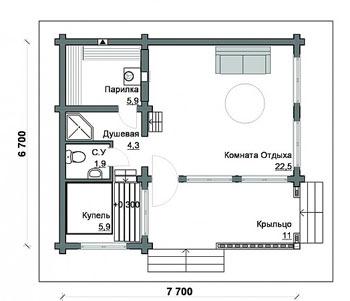 «Проекты бань 6 на 7: особенности составления, фото и схемы» фото - proekt bani 6 7 8