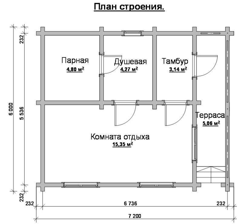«Проекты бань 6 на 7: особенности составления, фото и схемы» фото - proekt bani 6 7 9 800x742