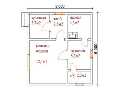 «Баня 6 на 6: проект, особенности и фото» фото - banya 6 6 4