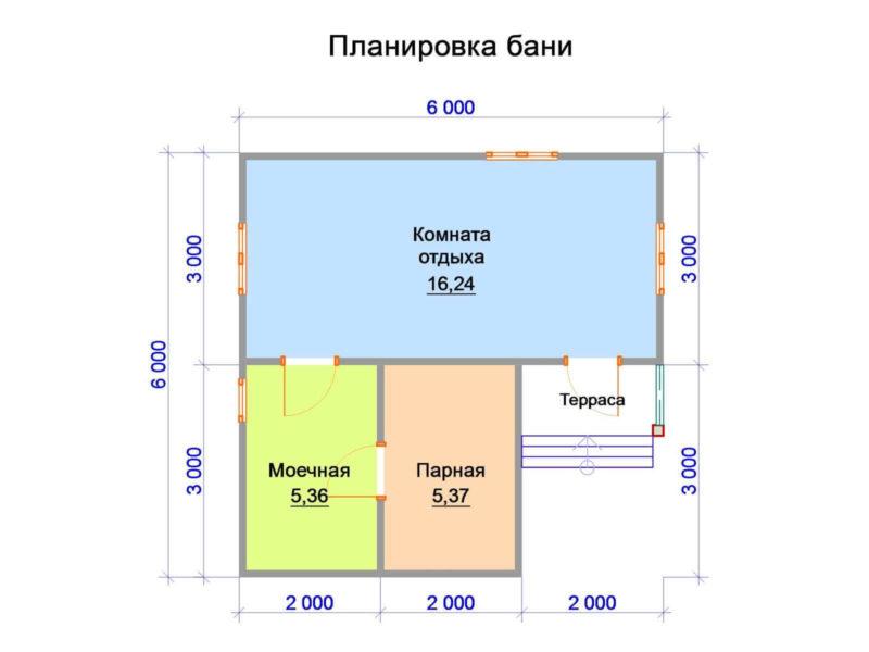 «Баня 6 на 6: проект, особенности и фото» фото - banya 6 6 5 800x600