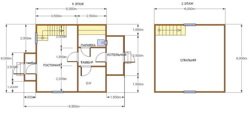 «Баня 6 на 6: проект, особенности и фото» фото - banya 6 6 9 800x375