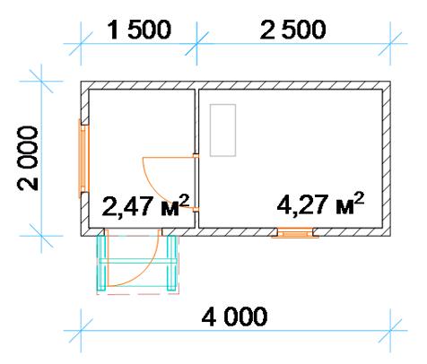 «Компактные и экономичные бани 2х2 и 2х3: как составить проект правильно?» фото - banya 2 2 4