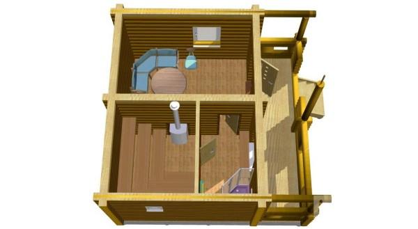 «Баня 5 на 6: планировка, особенности составления проекта. Варианты проектов бани 5х6 м» фото - banya 5 na 6 2