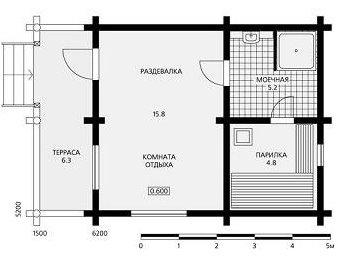«Баня 5 на 6: планировка, особенности составления проекта. Варианты проектов бани 5х6 м» фото - banya 5 na 6 9
