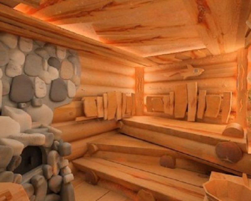 «Внутренняя отделка бани из бруса: идеи, советы и фото» фото - vnut otdelka brevno 7 800x640