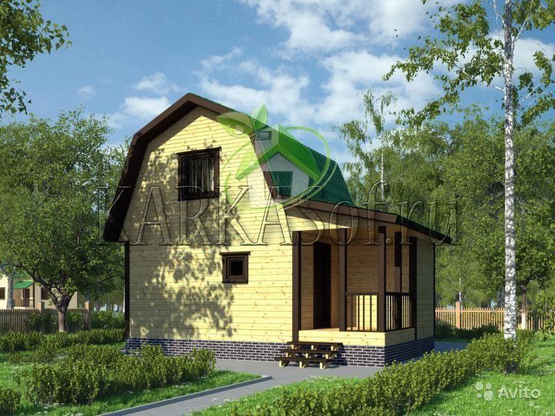 «Двухэтажная баня из бруса размером 4.5 на 7 м Каркасоф Проект 11» фото - 4466997918 800x600