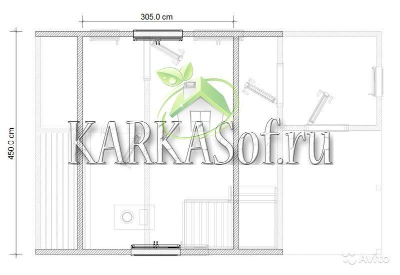 «Двухэтажная баня из бруса размером 4.5 на 7 м Каркасоф Проект 11» фото - 4466997957 800x549