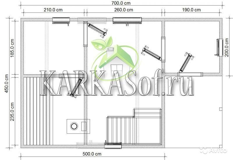 «Двухэтажная баня из бруса размером 4.5 на 7 м Каркасоф Проект 11» фото - 4466997971 800x549