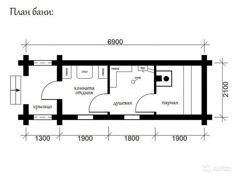 «Баня готовая купить в Москве 7х2,25 м2 с крыльцом» фото - 4496045278 800x600
