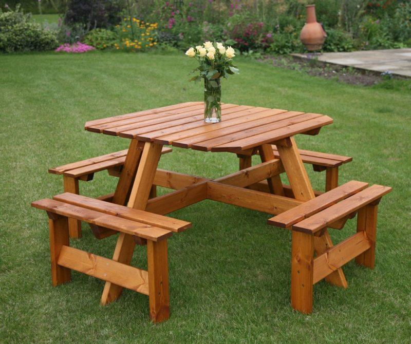 «Как сделать уличный стол своими руками: инструкция и лучшие идеи» фото - GP015 Picnic Bench 8 Seate 1000x1000 800x670