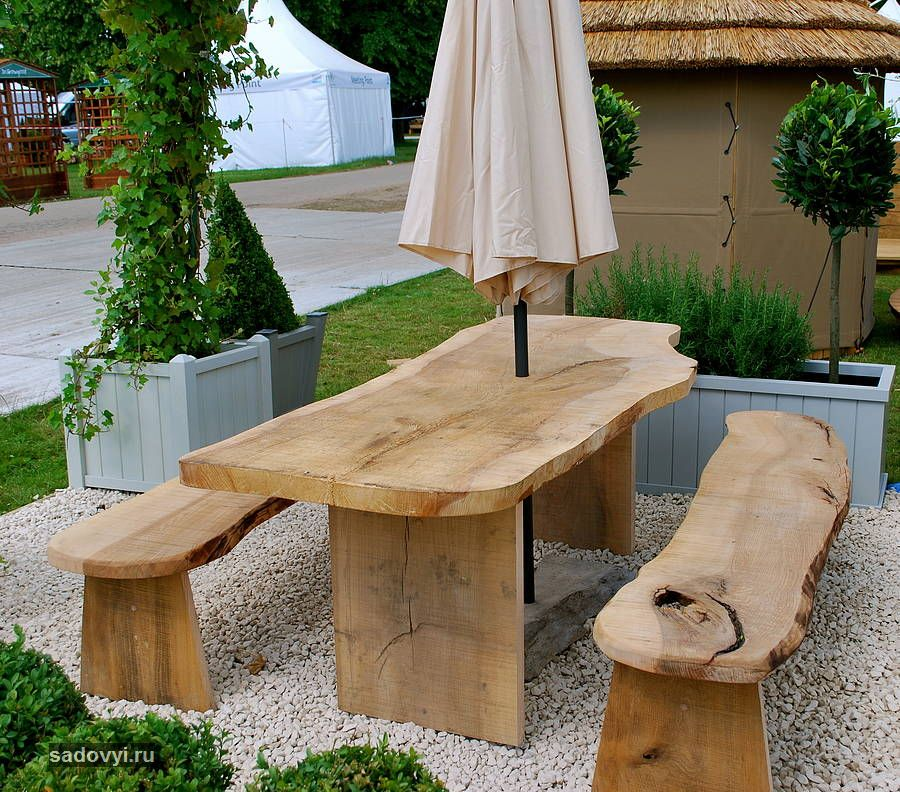original solid cedar wood garden table and two benches