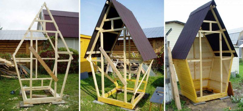 «Туалет для дачи Теремок - как сделать своими руками, где купить, идеи для туалета» фото - 1494857165 tualet teremok www.moydomik.net karkas 800x367