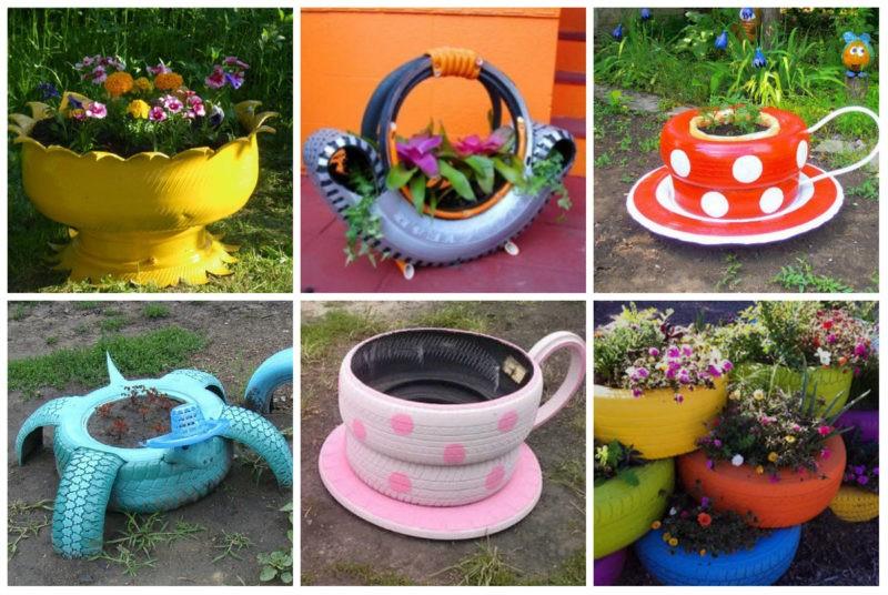 «Как сделать клумбу цветом на дачном участке?» фото - podelki iz pokrishek dlia sada klumbi 800x536