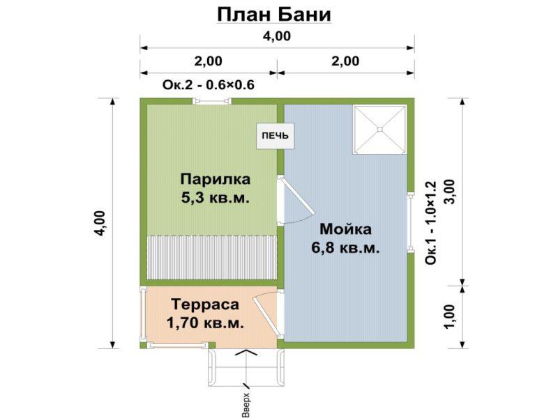«Проект бани 4 на 4 с верандой: фото, варианты планировки» фото - banya 4 na 4 veranda 3 800x600