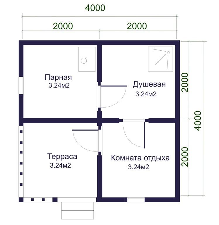 «Проект бани 4 на 4 с верандой: фото, варианты планировки» фото - banya 4 na 4 veranda 4