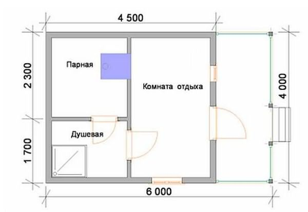 «Проект бани 4 на 4 с верандой: фото, варианты планировки» фото - banya 4 na 4 veranda 5
