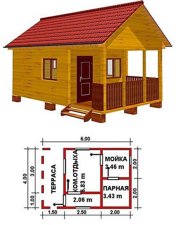 «Проект бани 4 на 4 с верандой: фото, варианты планировки» фото - banya 4 na 4 veranda 6