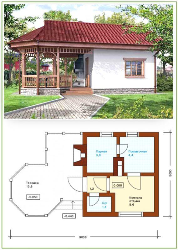 «Проект бани с кухней: преимущества, фото. Примеры проектов бани с летней кухней» фото - banya kuhnja 12 569x800